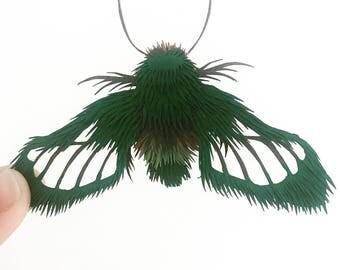 Miniature Paper Sculpture / Insect Paper Cut / Collage Paper Cut / Gift / Butterfly Paper Sculpture/Papercut / Papercutting Art/Fluffy Moth