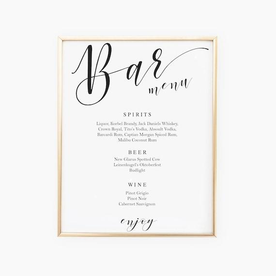 Script Bar Sign Template Wedding Menu Signs Signature Cocktail Printable Drink