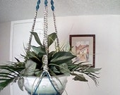 Mothers Day Gift Macrame Plant Hanger macrame planter macrame pot holder blended blue beige brown fiber boho hippie home garden patio decor