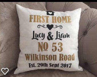 Personalised New Home Cushion Cover - House Warming - Home Decor - New Home Gift - Decorative