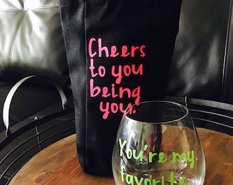 Cheers Gift Box, Wine Gift, Best Friend Gift, Birthday Gift, Cheer Up Gift, Wine Glass