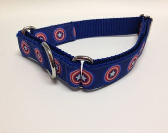 Martingale Dog Collar, Medium Blue Martingale Collar, Medium Captain America Martingale Dog Collar, Medium Adjustable Dog Collar