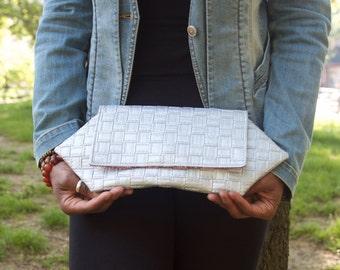 Geometric Faux Leather Metallic Silver Basket Weave Patterned Envelope Style Clutch