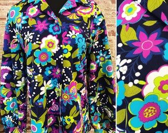 1970s Vintage Polyester Groovy Printed Top. Vintage Groovy Top. 1970s Disco Top