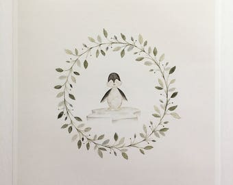 "Penguin-Flower Wreath & Animals 10""x10"" Print"