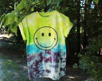 Smiley Face Tie Dye shirt, Grunge Dip Dye T Shirt, Smiley Face T Shirt, Dip Tie Dye Shirt, Grunge Tie Dye Shirt,