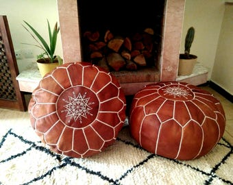 Moroccan Pouf // Set of 2  Handmade Leather pouffes// Leather Ottoman  // 100 % Handmade // Genuine Leather // BROWN