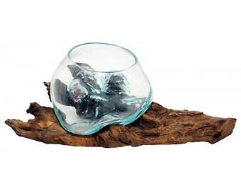 Vase in root, glass vase in rootbed, decorative glass, Gamal vase