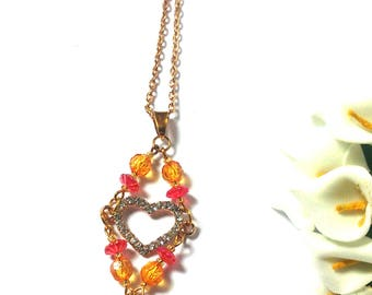 Colorful Necklace Orange Heart Beads - Golden Pendant Heart - Orange Beads - Gift - Unique Jewelry - Statement Necklace - Gift For Her