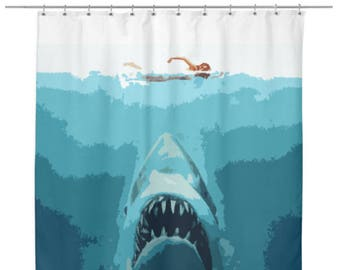 Exceptional Jaws Inspired Pop Art Shower Curtain