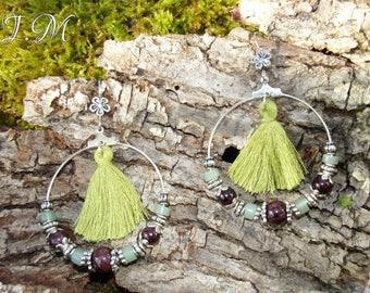 Almandine Garnet round earrings.