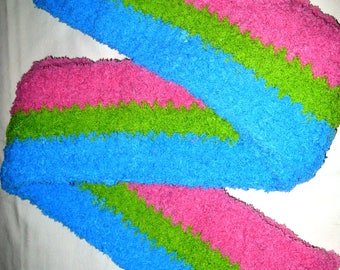 Crocheted Chenille Pink, Green and Turquoise Soft Fuzzy Scarf