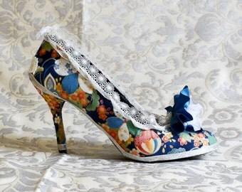 MADAME DE SEVIGNE Baroque shoes fancy rococo style Carnival costume costume Pompadour Antoinette blue white