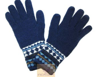 100% ALPACA - alpaca gloves handmade in Peru - Alpaca gloves for men women winter Gloves fancy -Peruvian Products - navy gloves - blue