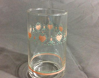 "Vintage Corelle by Corning Forever Yours Water Drinking Glass Pink Heart Theme 4 3/4"" high"