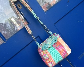 Ready to Ship Padded Compact Camera Bag with Patchwork Styling One of a Kind Piece Machine Washable Canon 55mm lens