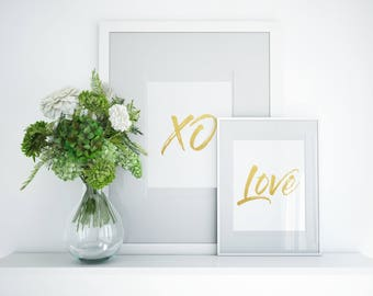 Love XO printable set, gold lettering, love wall art,love wall sign, XO sign,bedroom set, love poster word art, gold sign, set of 2 posters