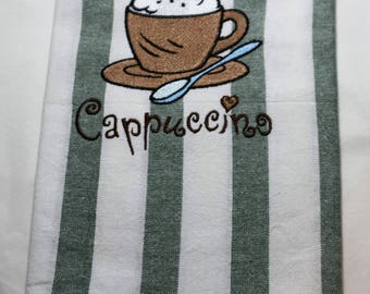 Cappuccino Embroidered Tea Towel