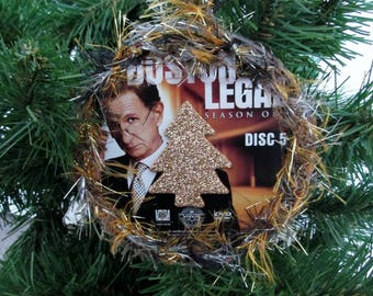 Boston Legal Christmas Ornament Upcycled TV Show DVD - Paul
