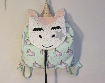 Sac à dos enfant maternelle, sac à dos à coulisse, sac à dos licorne, sac école, sac à doudou, licorne,  sac à dos fille, sac petite fille