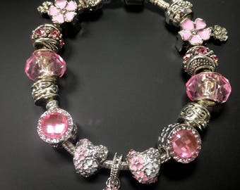 "Pandora's Poetic Blooms Inspired ""I Love Spring"" Pink Glass Bead Charm Silver-Tone Bracelet, Gift for Her Birthday, Graduation"