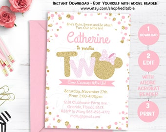 Pink and Gold Minnie Mouse Birthday Party Invitation, Second, 2nd Birthday, Twodles Gold Glitter, Polka Dot invite, Girl, Instant download