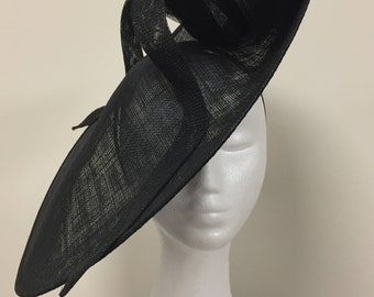 Stunning lardge black fascinator with large black bow