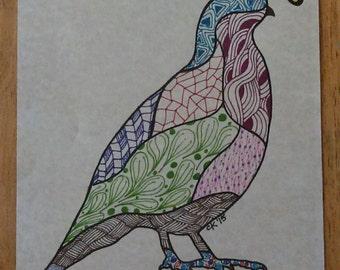 Quail Multicolored Zentangle print