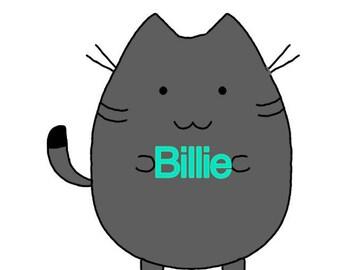 Kawaii Kitty with your name on it. (Digital copy)
