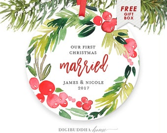 Married Christmas Ornament Personalized, Married Couple First Christmas Ornament 1st Christmas as Mr & Mrs Newlywed First Christmas Married
