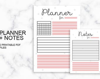 Planner + Notes PDF Printables, Pink, A5, Daily/Monthly Planner