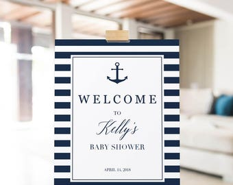 Navy Blue Baby Shower Welcome Sign Printable Personalized Welcome Sign Nautical Party Decorations Wedding Welcome Sign Bridal Shower DIY NS1