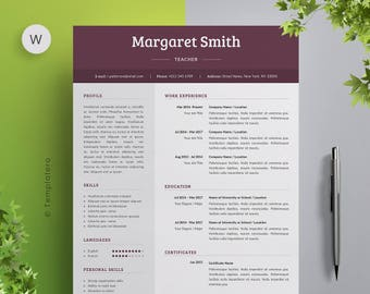Resume Template + Free Cover Letter - Vol.4