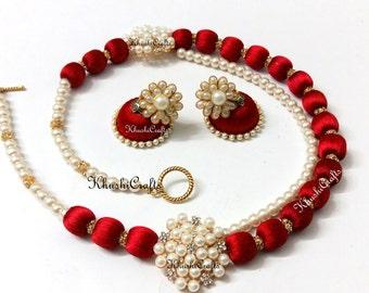 Silk Thread Jewelry Set with Jhumkas Red/Orange/White/Pink -Handmade Indian Jewelry