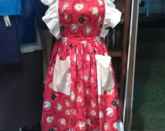 Red and White Coffee and Tea Pot Vintage Styled Apron