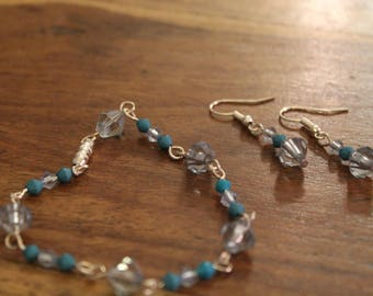 Turquoise and clear matching earrings and bracelet set