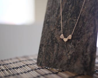 Rose Gold Three Heart Necklace - Minimalist Necklace - I Love You Necklace - Heart Jewelry - Rose Gold Necklace - Dainty Chain Necklace