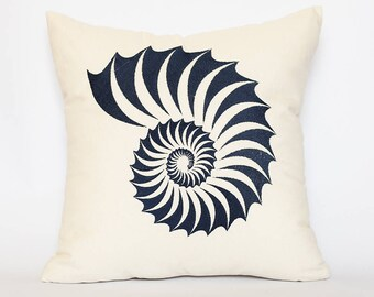 Sea Shell Pillow Cover,Decorative Throw Pillow, Seashell embroidery, Home Decor, Beach Decor, Embroidered cushion