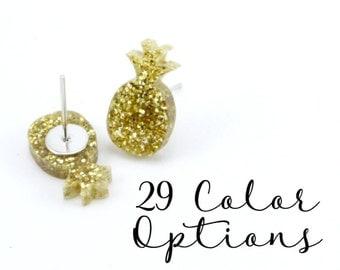 """1 Pair Blank Pineapple Post Earrings, 12mm 1/2"""" 16mm Glitter, Pearl, Mirror, Monogram Blank, Blank Acrylic Earrings, Acrylic Earring Blanks"""