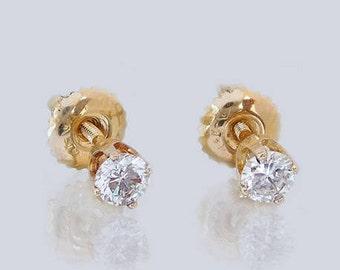 14K Yellow Gold 0.32 CTW Diamond Earring Studs