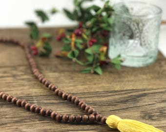 Wooden Bead Tassel Necklace, Beaded Tassel Necklace, Tassel Necklace, Wood Bead Tassel Necklace, Back to School