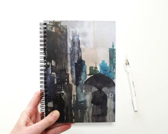 Blank journal Watercolor original  print Journal Diary Travel notebook Personalized journal Blank Writing  White pen paper