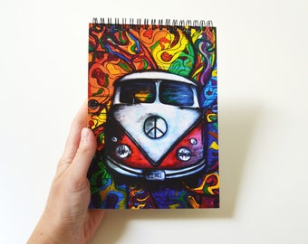 Blank journal Hippie gift Travel book Hippie decor Spiral notebook Art sketchbook Original oil painting print  Original gift for friend