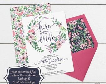 Printable Bridal Shower Invitation Template, Watercolor Floral Bridal Shower Invitations Template, Watercolor Flowers, Pink, Purple