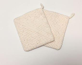 Ecru Pot Holder, Hot Pad, Crochet,Homemade, Set of 2,Kitchen Accessories