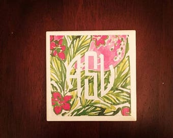 Lilly inspired coaster