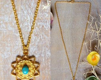 Flower of life and turquoise necklace