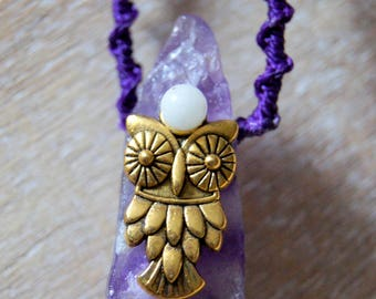 Raw Amethyst necklace, OWL and beads
