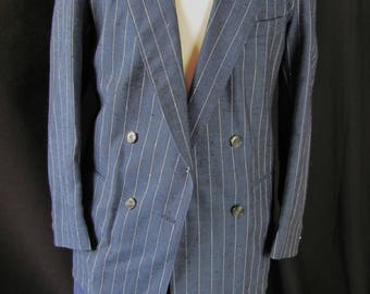 vintage navy blue pinstripe suit, doublebreasted, costume, gangster, steampunk, retro, 36?, cosplay, double breasted