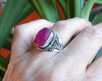 SILVER plated ring and Ruby (BA209)
